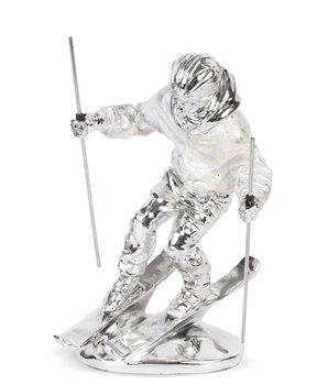 Figurka Srebrna Bond Narciarz 25,5x17cm-Pigmejka