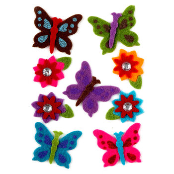 Filcowe naklejki, motyle i kwiaty, 10 sztuk