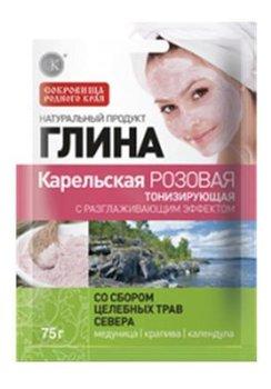 Fitokosmetik, różowa glinka karelska tonizująca z dodatkiem Ziół miodunka, 75 g-Fitokosmetik