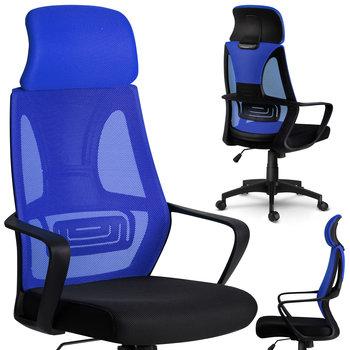 Fotel biurowy SOFOTEL Praga czarno-niebieski, 128x64x46 cm-SOFOTEL