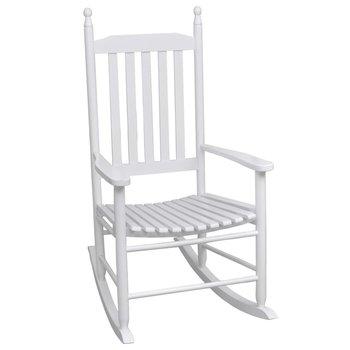 Fotel bujany z wygiętym siedziskiem VIDAXL, biały, 60,5x82x114 cm-vidaXL