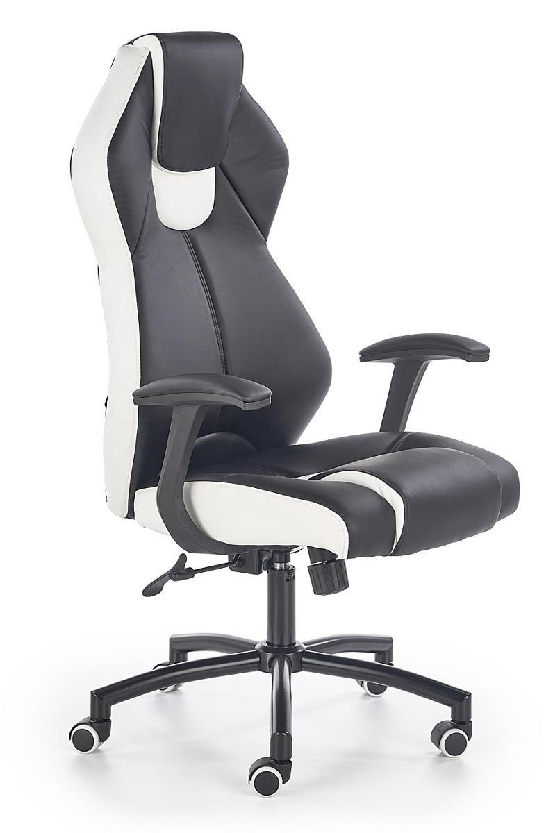 Fotel gabinetowy ELIOR Cotto, czarno biały, 65x65x120 128 cm