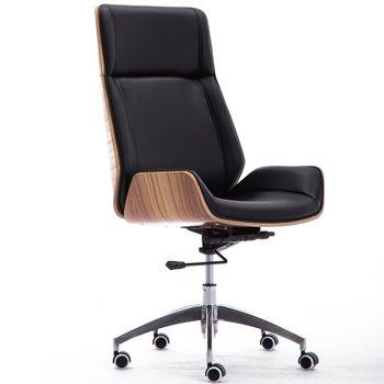 Fotel obrotowy TOPESHOP ARON, orzechowo-czarny, 119x58x50 cm-Topeshop