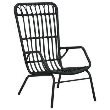 Fotel ogrodowy, polirattan, czarny-vidaXL
