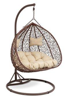 Fotel wiszący DIVOLIO Foggio, brązowy, 135x110x75 cm-DiVolio