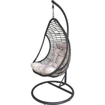 Fotel Wiszący SASKA GARDEN Cocoon Crescent Delux, czarny, 94x194 cm-Saska Garden