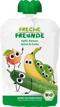 Freche Freunde BIO Mus z Jabłek Bananów Szpinaku i Ogórka-Freche Freunde