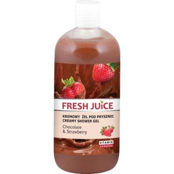 Fresh Juice, kremowy żel pod prysznic Czekolada i Truskawka, 500 ml-Fresh Juice