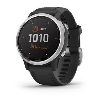 Garmin, Smartwatch, Fenix 6S Solar Silver z czarnym paskiem-Garmin