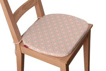 Geometric Siedzisko Bartek na krzesło, szare romby na łososiowym tle, 40x37x2,5 cm-Dekoria