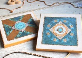 Geometryczne obrazki  w złotej oprawie - stwórz je na podobraziu z papierowych kształtów.