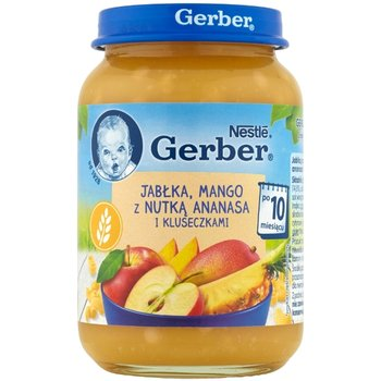 Gerber, Deserek, Jabłka-mango z nutką ananasa i kluseczkami, 10 m+, 190g-Gerber