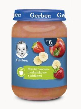 Gerber, Deserek Mus bananowo truskawkowy z jabłkami dla niemowląt po 6 miesiącu, 190 g-Gerber