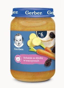 Gerber, Obiadek Schabik ze śliwką w warzywach dla niemowląt po 6 miesiącu, 190 g-Gerber