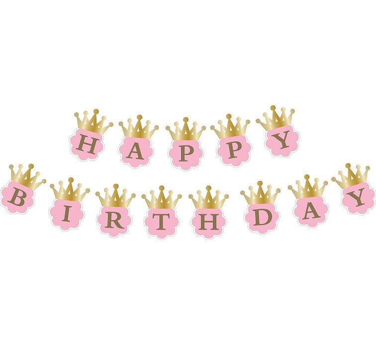 The 180 Happy Birthday To My Husband: Girlanda, Happy Birthday, Korona, Różowy, 180 Cm