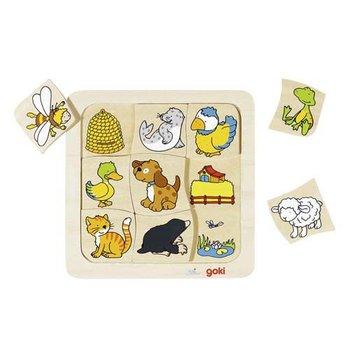Goki, puzzle drewniane Gdzie mieszkają zwierzątka?-Goki