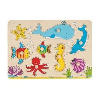 Goki, puzzle drewniane z uchwytami Podwodny świat-Goki