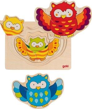 Goki, układanka dla dzieci warstwowa Sowie kształty -Goki
