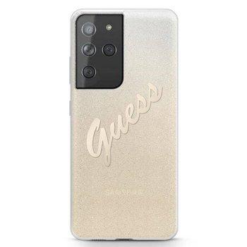 Guess Glitter Gradient Script - Etui Samsung Galaxy S21 Ultra (złoty)-GUESS