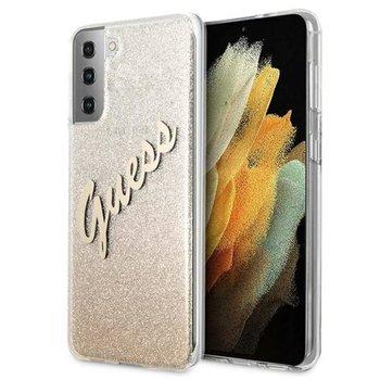 Guess Glitter Gradient Script - Etui Samsung Galaxy S21 (złoty)-GUESS