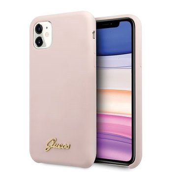 Guess GUHCN61LSLMGLP iPhone 11 jasnoróżowy/light pink hard case Silicone Vintage Gold Logo-GUESS