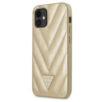 Guess V Quilted - Etui iPhone 12 mini (złoty)-GUESS