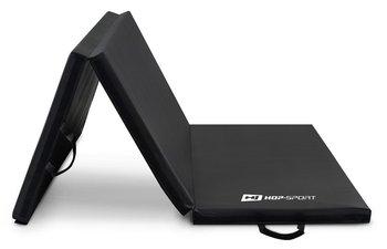Hop-Sport, Materac gimnastyczny składany, twardy z rzepami, czarny, 5cm-Hop-Sport