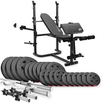 Hop-Sport, Zestaw kulturystyczny Premium, 105kg z ławką, HS-020, czarny-Hop-Sport