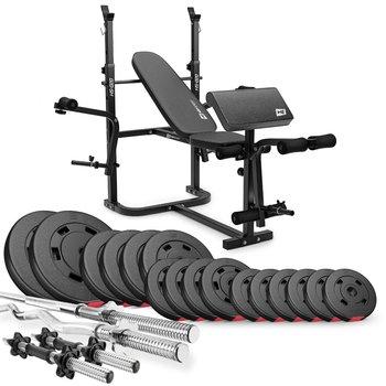 Hop-Sport, Zestaw kulturystyczny Premium, 75kg z ławką, HS-020, czarny-Hop-Sport