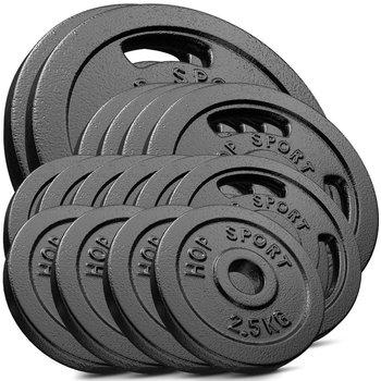 Hop-Sport, Zestaw obciążeń żeliwnych 120kg (2x20, 4x10, 6x5, 4x2,5)-Hop-Sport