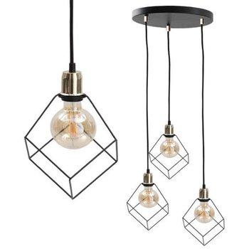 Industrialna LAMPA wisząca KET493 metalowa OPRAWA druciaki ZWIS klatki złote czarne-KET