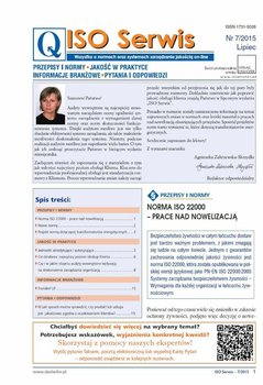 ISO Serwis. Wszystko o normach i systemach zarządzania jakością. Nr 7/2015                      (ebook)