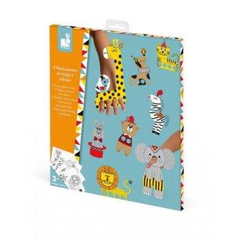 Janod, zestaw kreatywny Papierowe marionetki, Cyrkowe zwierzęta-Janod