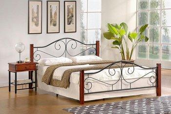 Jednoosobowe łóżko ELIOR Sirela, brązowo-czarne, 89x123x210 cm-Elior