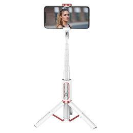Joyroom selfie stick tripod teleskopowy statyw kijek do zdjeć bezprzewodowy pilot Bluetooth biały (JR-Oth-AB202)
