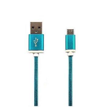 Kabel Micro-USB pleciony nylon 1m - Niebieski.-EtuiStudio