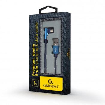 Kabel USB 2.0 - Lightning 1m oplot tekstylny złącze kątowe Gembird-GEMBIRD-ENERGENIE