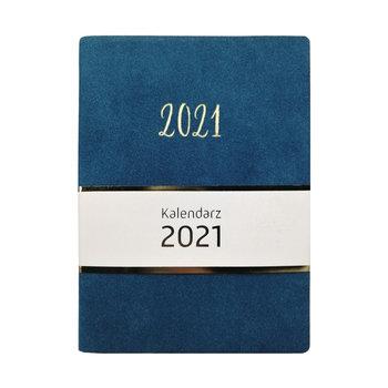 Kalendarz książkowy 2021, welurowy, niebieski