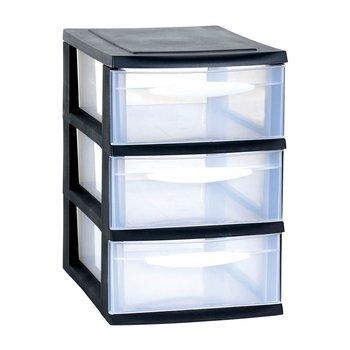 KAMAI, Szafka modułowa A5, 3 duże szuflady, transparentna, czarna, EDA, 27,5x18x27 cm-Kamai