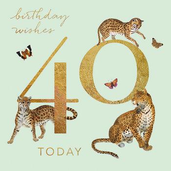 Karnet okolicznościowy, 40 urodziny, zielony