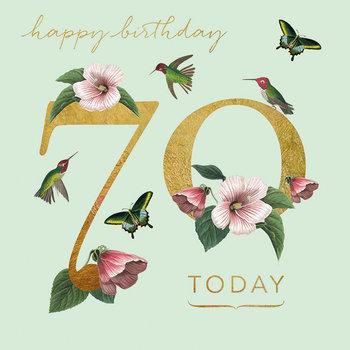 Karnet okolicznościowy, 70 urodziny, zielony