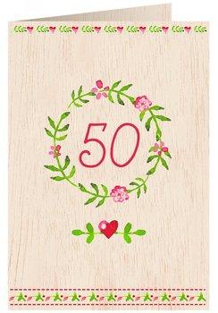 Karnet okolicznościowy drewniany, 50. Urodziny