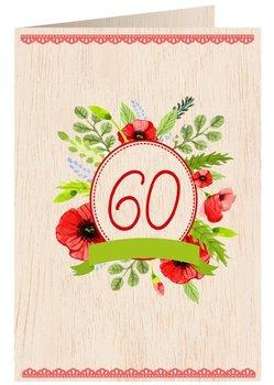 Karnet okolicznościowy drewniany, 60. Urodziny