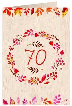 Karnet okolicznościowy drewniany, 70. Urodziny