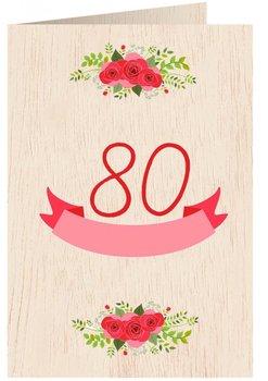 Karnet okolicznościowy drewniany, 80. Urodziny