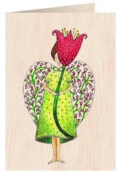 Karnet okolicznościowy drewniany, Anioł z kwiatem