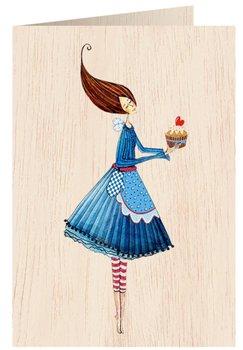 Karnet okolicznościowy drewniany, Kobieta z ciastem