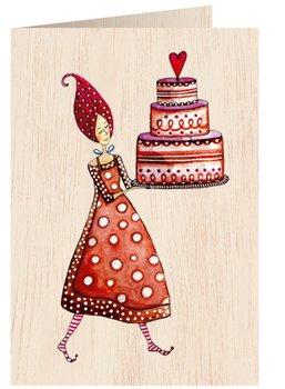 Karnet okolicznościowy drewniany, Kobieta z tortem