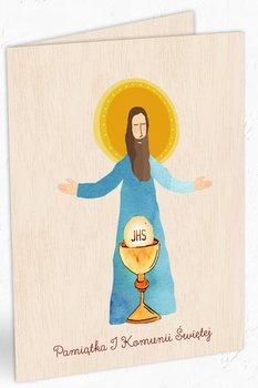 Karnet okolicznościowy, drewniany, Pierwsza Komunia Święta, Jezus