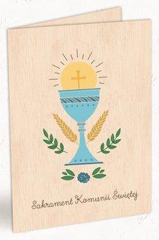Karnet okolicznościowy, drewniany, Pierwsza Komunia Święta, Kielich, niebieski